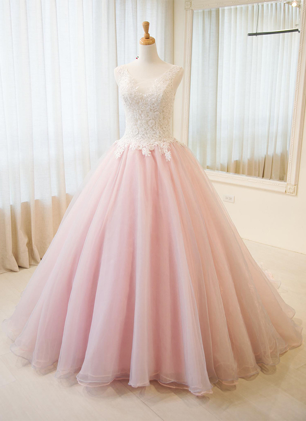 02d724593e49 Elegant Ball Gown Blush PInk Formal Evening Party Dress, Prom Dresses 2018