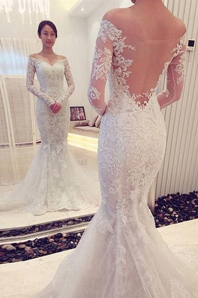 68c00632e6988 Sexy Mermaid Long Sleeves Lace Wedding Dress