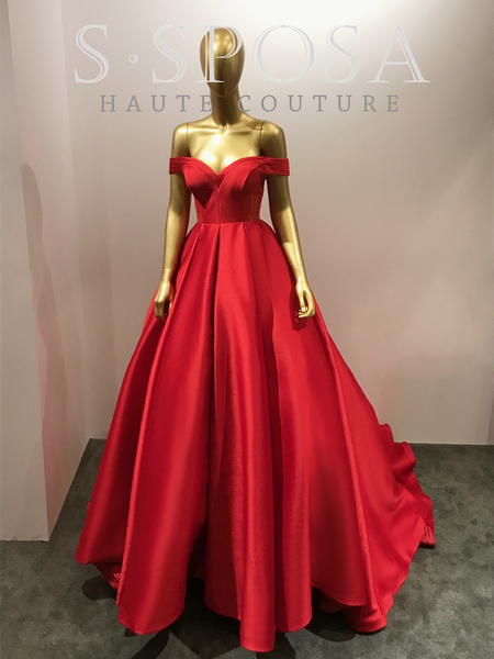 61e797cb84e Custom Made Red Off- Shoulder Satin Ball Gown Prom Dress on Luulla