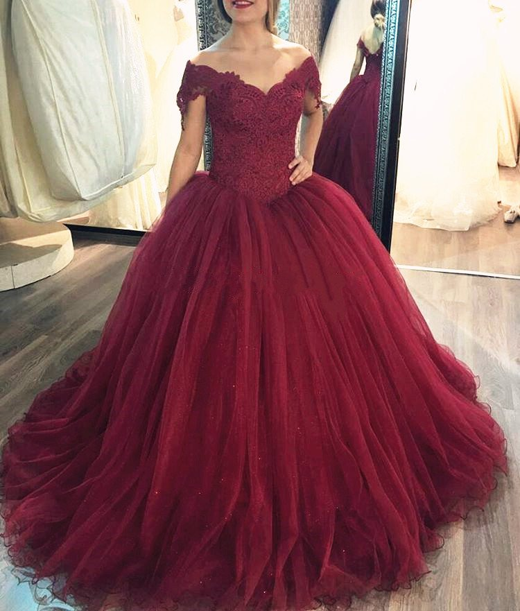 Ball Gown Wedding Dress,Cap Straps Burgundy Bridal Dress on Luulla