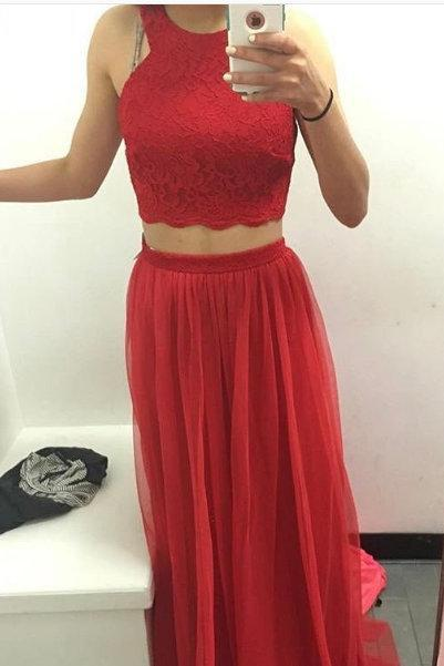 Fashion Two Piece Prom Dress 2018,Sexy Graduation Dress,Red Prom Gown,Two Pieces Graduation Gown