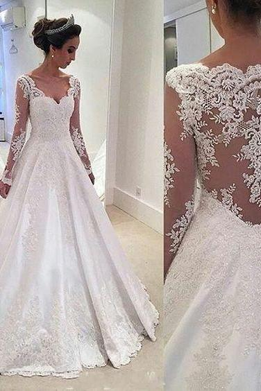 A line Long Sleeves Lace Wedding Dress,Sexy Illusion Lace Back Bridal Dress