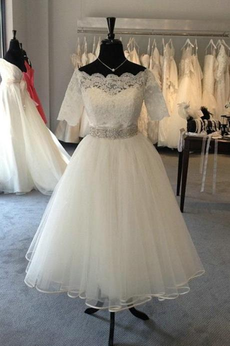 Tea Length Tulle and Lace Wedding Dress,Informal Short Bridal Dress,Custom Half Sleeves Lace Wedding Gown