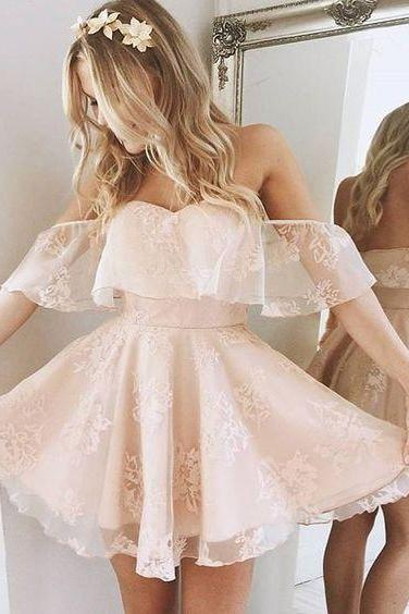 Light Pink Homecoming Dress,Sexy Off Shoulder Short Party Dress,Off Shoulder Sleeves Lace Homecoming Gown