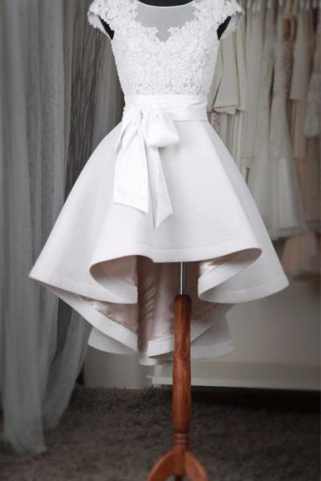 Hi-low Wedding Dress,Informal Wedding Dress,Cap Sleeves Lace Wedding Dress,Short Bridal Dress
