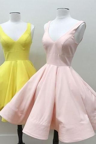 V-neckline Yellow Homecoming Dress,Blush Pink Homecoming Dress,Short Prom Dress