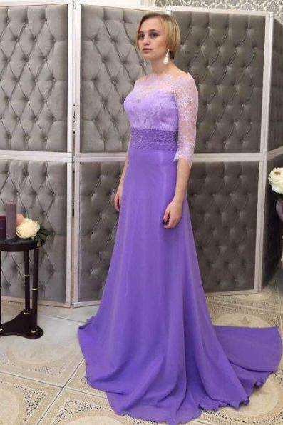 Half Sleeves Lace Evening Dress,Lavender Wedding Party Dress,Long Sleeves Lavender Lace Prom Dress