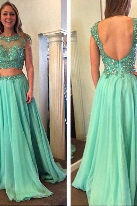 Sexy Open Back Prom Dress,Two Pieces Graduation Dress,Ice Blue Lace Party Dress