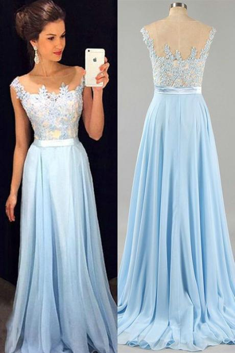 Light Blue Prom Dresses,A line Chiffon Evening Dress,Sky Blue Graduation Dress