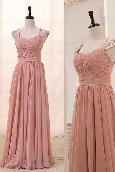 Blush Pink Shimmery Cap Sleeve Knotted Front Twist Chiffon A-Line Prom Dress, Bridesmaid Dress