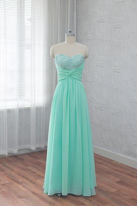 Mint Green Strapless Sweetheart Beaded Ruched A-line Floor-Length Prom Dress, Evening Dress Featuring Lace-Up Back