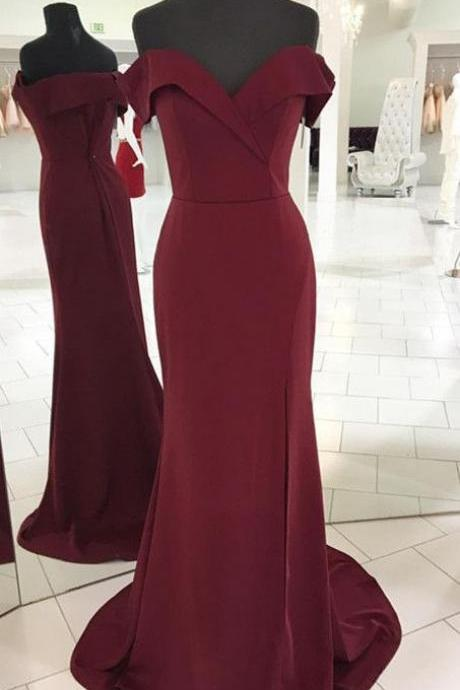 Burgundy Off-the-Shoulder Mermaid Long Prom Dress, Evening Dress, Bridesmaid Dress Featuring Side Slit