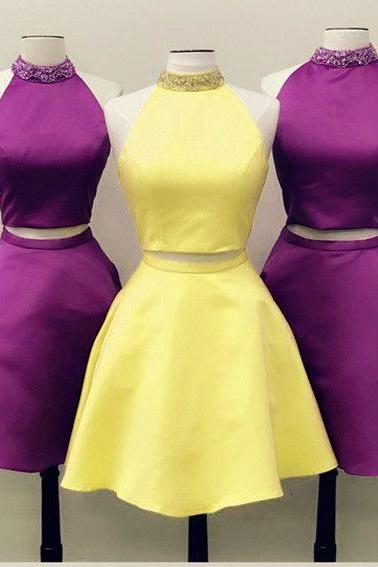 Two Pieces Homecoming Dress,Short Purple Party Dress