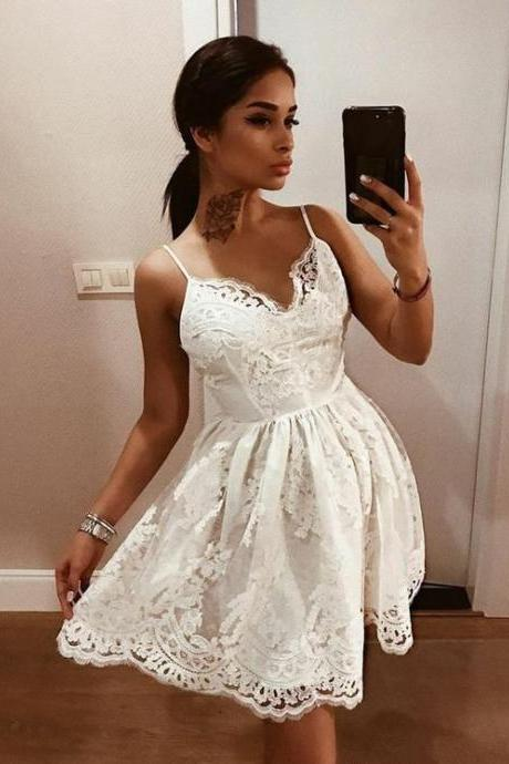 0bcb44545db Spaghetti Straps White Lace Homecoming Dress