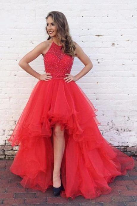 Sexy High-low Prom Dress,Red Graduation Dress,Handmade Beaded Evening Dress,Hi-low Red Prom Gown